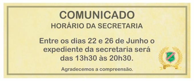 HORÁRIO DA SECRETARIA