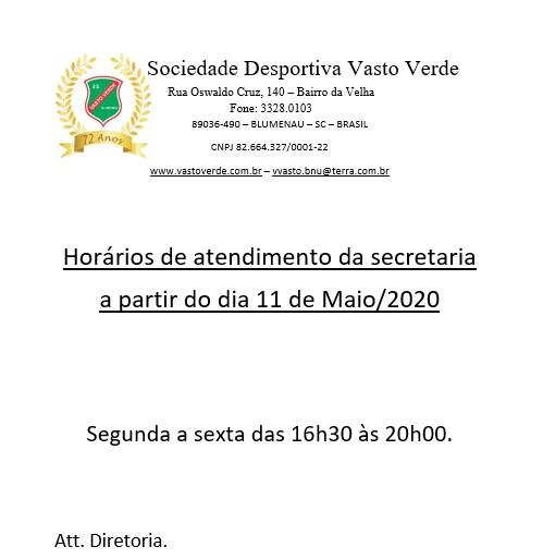 Horários de atendimento da secretaria a partir do dia 11 de Maio de 2020