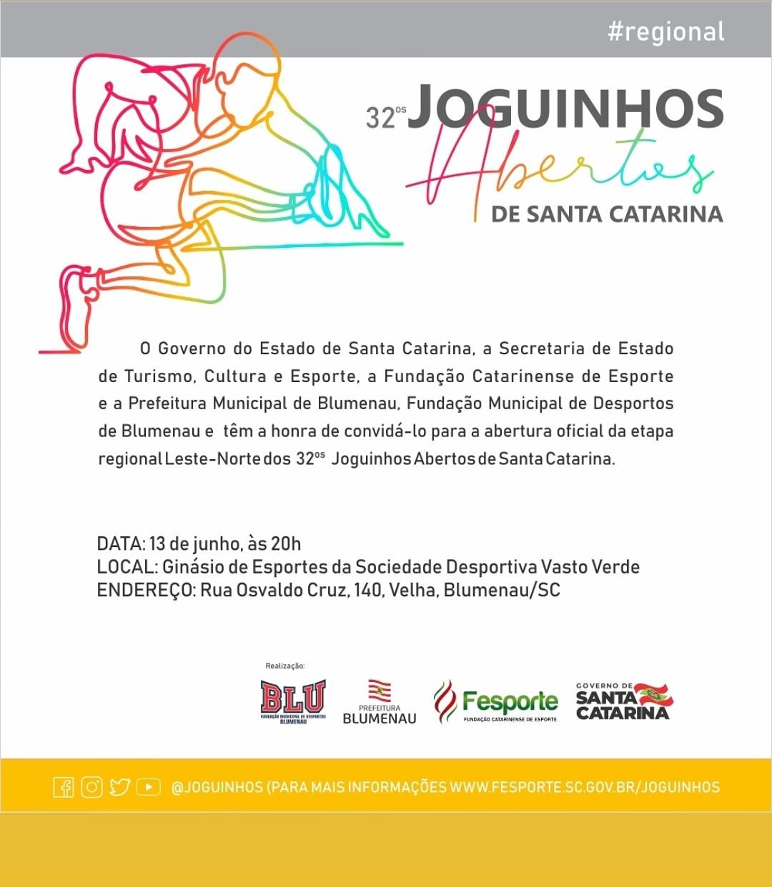 CONVITE ABERTURA OFICIAL DOS 32º JOGUINHOS ABERTOS DE SC